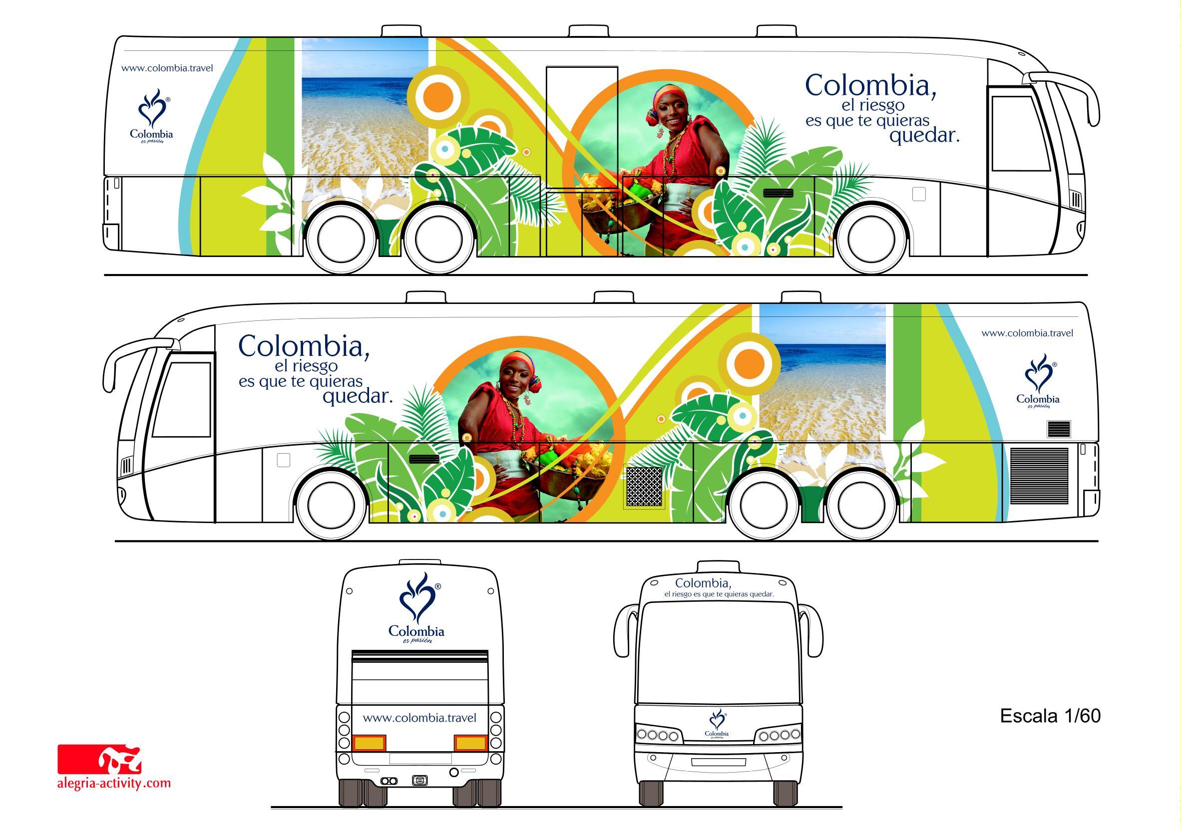 Parte exterior del bus de turismo colombiano