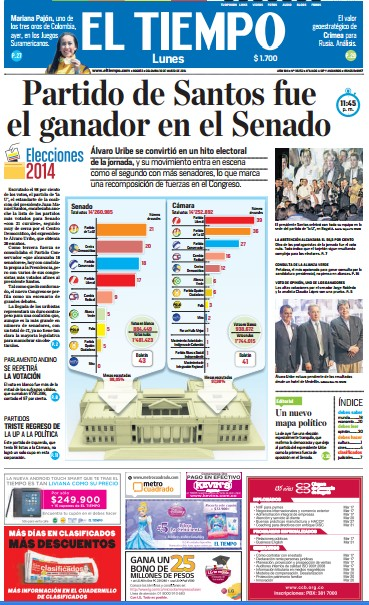 Portada de los principales diarios de Colombia y Espaa